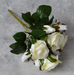 """Цветок искусственный букет """"Роза"""" белая 33см, арт. 5691"""