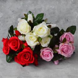 """Цветок искусственный букет """"Роза"""" красная 33см, арт. 5691"""