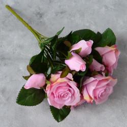 """Цветок искусственный букет """"Роза"""" розовая 33см, арт. 5691"""