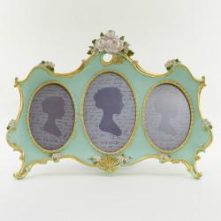 """Фоторамка на 3 фото """"Розы"""" цвет мята/золото, фото 10*15; 9*13, арт. 1777"""