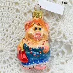 "Елочная игрушка символ года 2019 ""Свинка с сумочкой"" в синем, арт. 5307 ID3796"