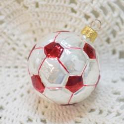 """Ёлочная игрушка """"Футбольный мяч"""" красный 5,5см. 5877 ID1938"""