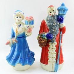 "Штоф 2шт. ""Дед Мороз и Снегурочка"" керамика, арт. 1862"