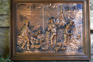 "Картина ""Рыбаки""  медь, дуб. 6020/к"
