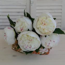"""Цветок искусственный букет """"Пион"""" цвет белый 48см, арт. 5427"""