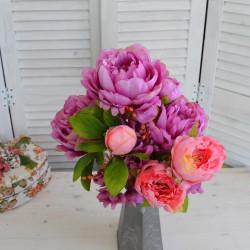 Цветок искусственный букет пион фуксия/роз. h=50см. , арт. 5009