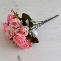 """Цветок искусственный букет """"Роза"""" двухцветная ярко розовый 40см, арт. 5662"""