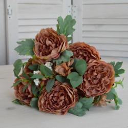 """Цветок искусственный букет """"Пион""""  прованс цвет т. пудра 45см, арт. 5011"""