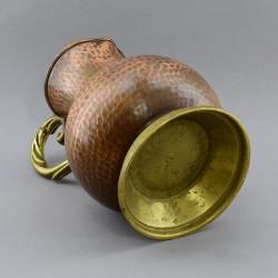 Медный кувшин с бронзовой ручкой и подставкой, арт. 2210