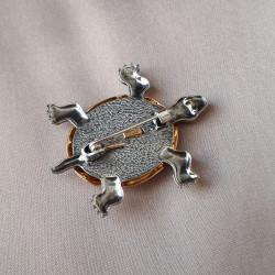 """Брошь """"Черепаха""""золочение, юв. стекло арт. 5118"""