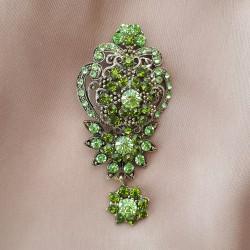 """Брошь """"Императорская лилия"""" цвет зеленый в черненом золоте, арт. 3534"""