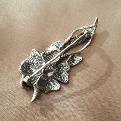 """Брошь """"Цветок"""" серебрение эмаль фианит* арт. 4398"""