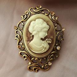 """Брошь """"Камея"""" цвет коричневый в золоте, арт. 2946/3"""