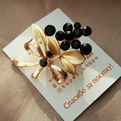 """Брошь """"Бузина"""" цвет черный в золоте, арт.3541"""