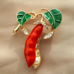 """Брошь """"Горох"""" цвет красный зеленый в золоте, арт.5095/1"""