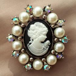 """Брошь """"Камея"""" цвет черный в серебре жемчуг, арт. 2946/6"""