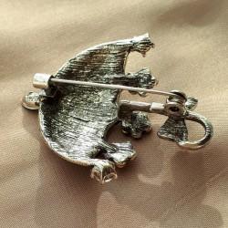 """Брошь """"Цветочный зонт"""" цвет ассорти в серебре, арт.5094"""