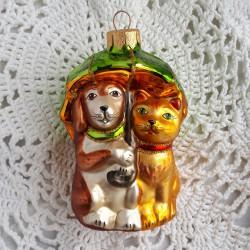 """Елочная игрушка """"Друзья собака и кошка"""" зеленый зонт арт. 5667 ID4252/3"""