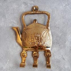 "Вешалка ""Чайник"" 3кр латунь. 14*9см, Индия, арт 532"