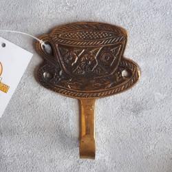 """Вешалка """"Чайная пара"""" 1кр, латунь, 9*7см, Индия арт. 0555"""
