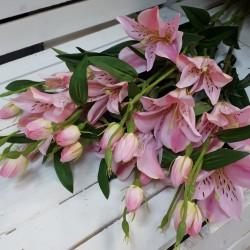 """Цветок искусственный ветка """"Лилия"""" розовый 80см, арт. 5700"""