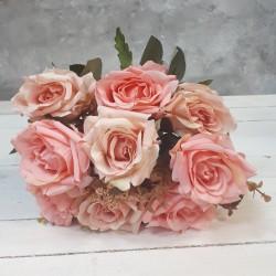 """Цветок искусственный букет """"Роза"""" двухцветная нежно розовый 40см, арт. 5662"""