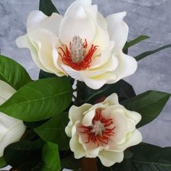 """Цветок искусственный куст горшечная """"Магнолия"""" белая 43см, арт. 5661"""