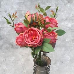 """Цветок искусственный букет """"Пионовидная роза"""" розовый 48см, арт. 5695"""