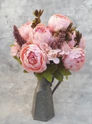 """Цветок искусственный букет """"Пион и гортензия"""" цвет персик 50см, арт. 4621"""
