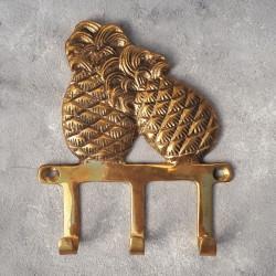 """Вешалка """"Ананасы"""" на 3крючка, латунь, 12х14см, Индия арт.0374"""