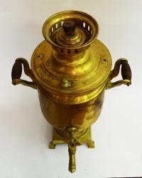 "Латунный самовар на дровах 3 литра форма ""Бочка"", арт. 2087"