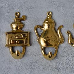 "Вешалка крючок ""Чайники"" набор 4шт., 8,5см, латунь. арт. 0370"