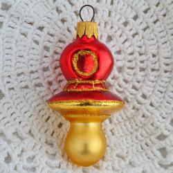 "Елочная игрушка ""Соска - пустышка"" красная арт. 6119 ID4739"
