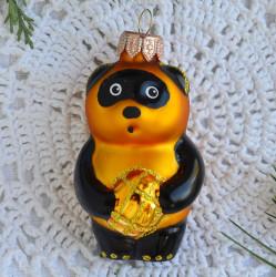 """Елочная игрушка """"Винни Пух с медом"""" золото арт.6082 ID4716"""