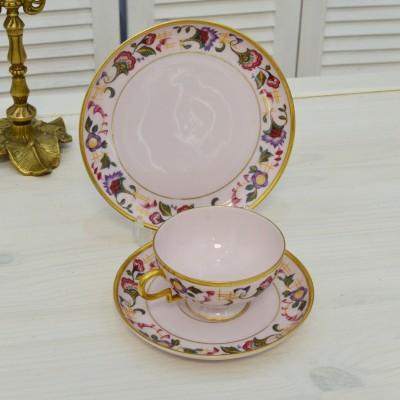 """Чайное трио """"Цветы на розовом"""", арт. 5004"""