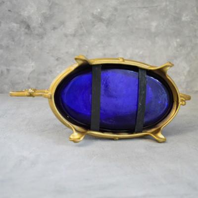 Жардиньерка - Ваза с ручками кобальтовое стекло в металле, арт. 5933/к