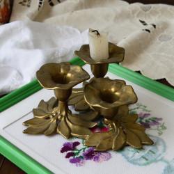 """Подсвечник """"Три цветка"""" латунь арт.5935/к"""