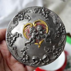 "Шкатулка ""Ангелы"" 4*д10см. фарфор, олово, арт.5980/к"