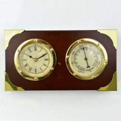 Часы настольные с термометром, дерево, латунь, арт. 2251