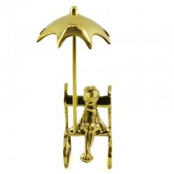 """Фигура """"Лягушка под зонтом"""" латунь, арт. 2338"""