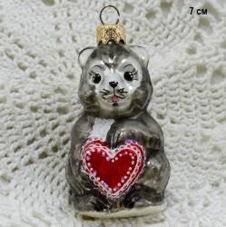 "Елочная игрушка ""Бурундук с сердцем"" 7см. арт. 5764 ID3734"