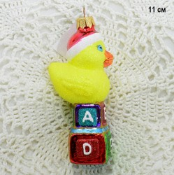 "Елочная игрушка ""Утенок на кубиках"" неон, арт. 3209 ID3751"