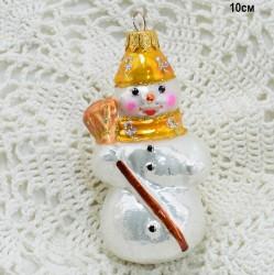 """Елочная игрушка """"Снеговик с метлой"""" желтый, арт. 5260 ID3768"""
