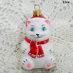 """Елочная игрушка """"Котик в шапке и шарфе сидит"""" белый, арт. 3209 ID3745"""