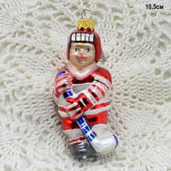 """Елочная игрушка """"Хоккеист"""" 11*5*4см. красный арт. 6049 ID3797"""