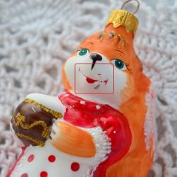 """Елочная игрушка """"Лисичка с горшочком"""" рыжая лиса, арт.5713 ID4489 Скидка 12%"""