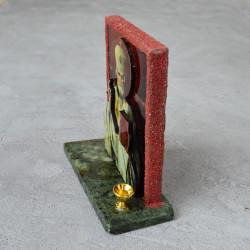 """Икона из змеевика на подставке """"Николай Чудотворец"""" 1 свеча 105*45*115мм. 340гр. арт. 5501"""
