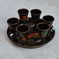 """Набор для саке """"Пейзаж"""" поднос + рюмки, 6шт., арт. 3199"""