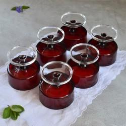 Набор  креманок 6шт. красное цветное стекло, арт. 4862