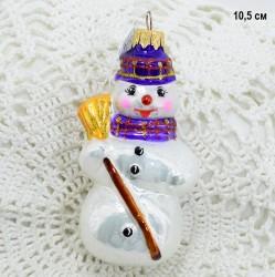 """Елочная игрушка """"Снеговик с метлой"""" сиреневый, арт. 5260 ID3789"""